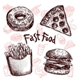 Fast food and drinks sketch set vector image