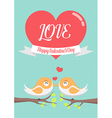 Lovely birds couple kissing each other on the tree vector image