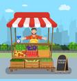 Male street vendor selling vegetables vector image