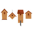 Set of four wooden birdhouses vector image