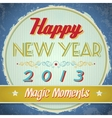 Vintage happy new year sign vector image