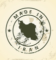 Stamp with map of Iran vector image