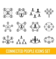 Connected people black icons set vector image