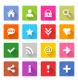 Flat basic icon set rounded square web button vector image