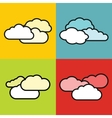 Flat cloud icons on color background vector image