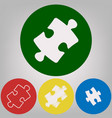 puzzle piece sign 4 white styles of icon vector image