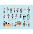 Set of pixel art people icons office work vector image