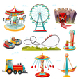 Amusement Park Attractions Flat Icons Set vector image