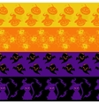 Colorful halloween seamless borders set vector image