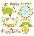 egg birds flowers easter vector image