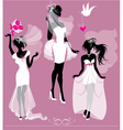 Set of girls silhouettes dressing Wedding gown vector image vector image