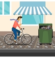 Funny handsome guy rides a bike vector image