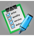 Blue felt tip pen and green checklist vector image