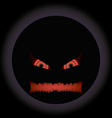 halloween evil face with a toothy maw with a halo vector image