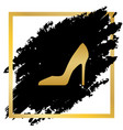 woman shoe sign golden icon at black spot vector image