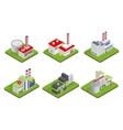 Icons and compositions of industrial building vector image
