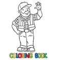 Coloring book of funny driver or worker vector image