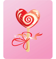 heart candy - lollipop - on pink background vector image vector image