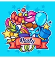 Celebration party card with carnival icons and vector image vector image