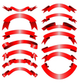 Decorative red ribbons vector image vector image