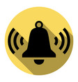 ringing bell icon  flat black icon with vector image