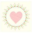 Valentine card with heart and floral frame vector image