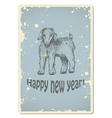 Vintage new year card with sheep vector image vector image