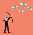 Businessman with a bow and arrow hitting the money vector image