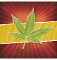 background with cannabis leaf and rasta colors vector image