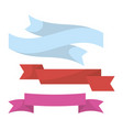 blue red and violet ribbons set in twisted shape vector image
