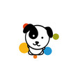 cute dog with colorful balls vector image