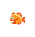 cute funny orange fish hand drawn vector image