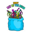 day of the dead skeletons in sack multicolored vector image