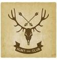 deer skull silhouette old background hunting club vector image