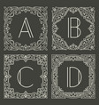 set of floral and geometric monogram logos with vector image