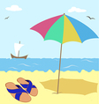 shale under an umbrella by the sea vector image