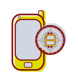 smartphone icon with circuit bitcoin emblem vector image