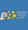 smiley face emoticons banner horizontal concept vector image
