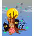 A rabbit beside an old tree vector image vector image