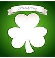 Fresh St Patricks Day Poster with Paper Clover vector image