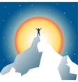 Businessman holding on top of mountain vector image