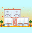 central cafe building facade flat style vector image