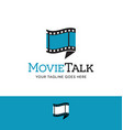 film and talk bubble logo vector image