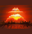 nuclear explosion atom bomb falling on earth vector image