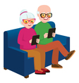 Senior couple husband with a computer tablet vector image