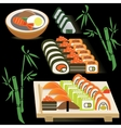 Set of Japanese rolls on a board and miso soup on vector image