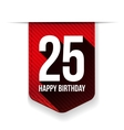 Twenty five years happy birthday ribbon vector image