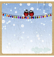 Two bullfinch on a Christmas garland vector image