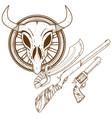 wild west guns slasher revolver shotgun outline vector image