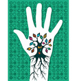 Go green hand tree vector image vector image